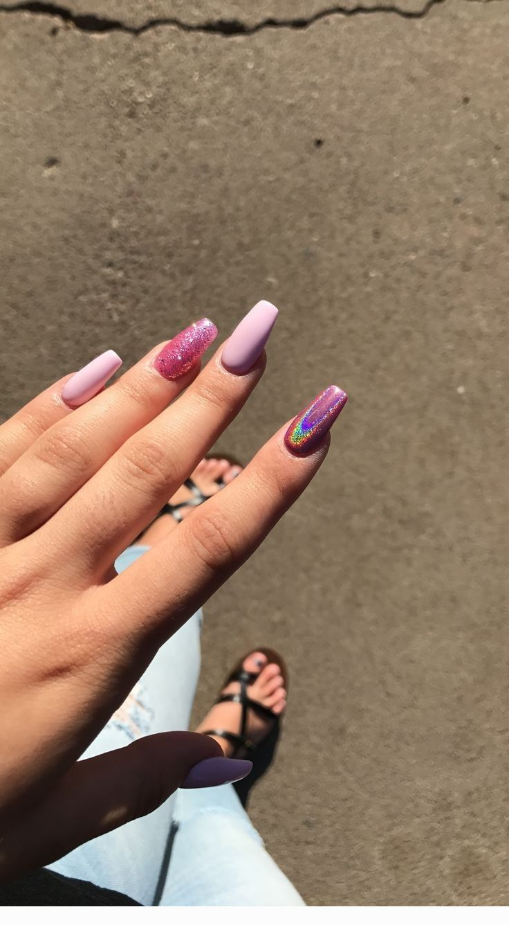Mauve And Glitter Cute Nails Coolladies Net