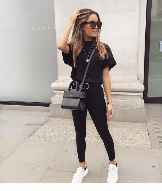 White sneakers, purse and black outfit