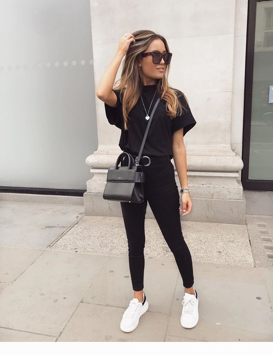 black and white sneakers outfit